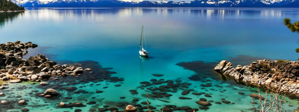 Stunning Sierra Nevada mountain range on the Lake Tahoe