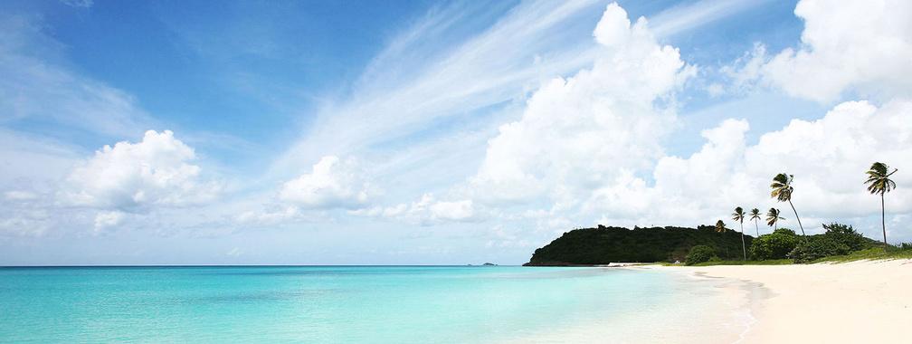 Sunny beach and crystal blue sea