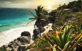 Sunset at a beautiful beach in Tulum Mexico