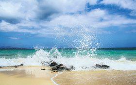 The pristine coastline with emerald green waters in Fuerteventura, Spain