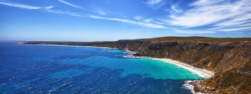 The rugged coastline and clear waters in Kangaroo Island, Australia