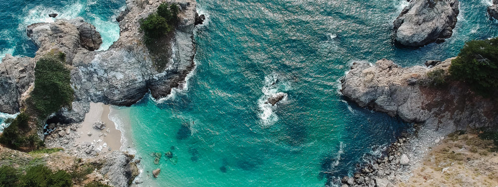 The stunning bird view on beach in Big Sur, California, United States