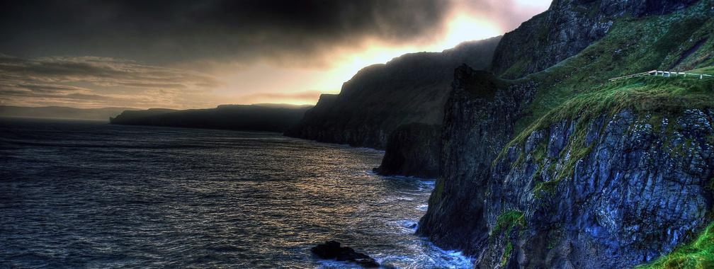 The wallpaper of amazing coastline of Ballintoy in Northern Ireland