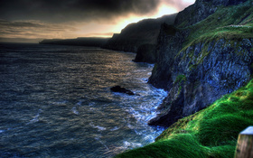 The wallpaper of amazing coastline of Ballintoy in Northern Ireland
