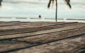The wooden path on a beautiful beach of Playa Venao, Panama