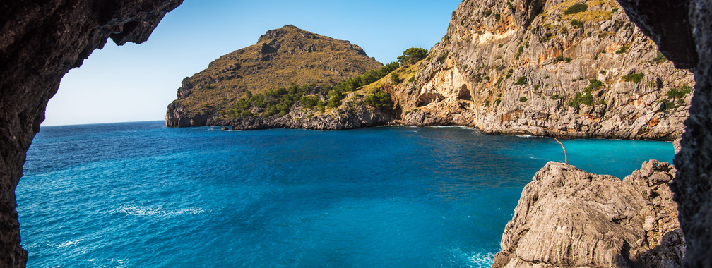 Turquoise water and blue sky in Mallorca, Spain