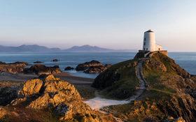 Twr Mawr lighthouse on Lladdwyn Island in North Wales