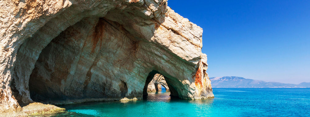 Unrealistic sea caves on Zakynthos, Greece