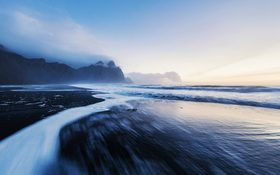 Vestrahorn mountains with the black sand beach in Iceland