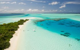 View from the sky on Kudahuvadhoo, Central Province, Maldives