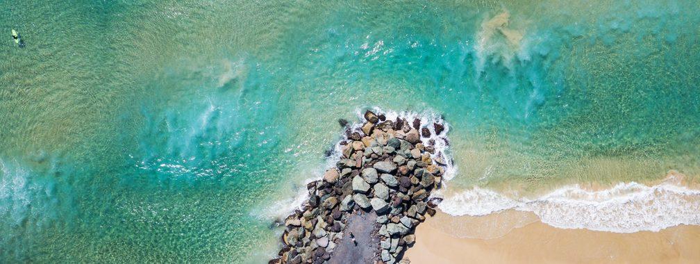 Walking path by Coolangatta beach, Australia