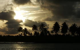 Yellow sunset over the Brazilian beach wallpaper