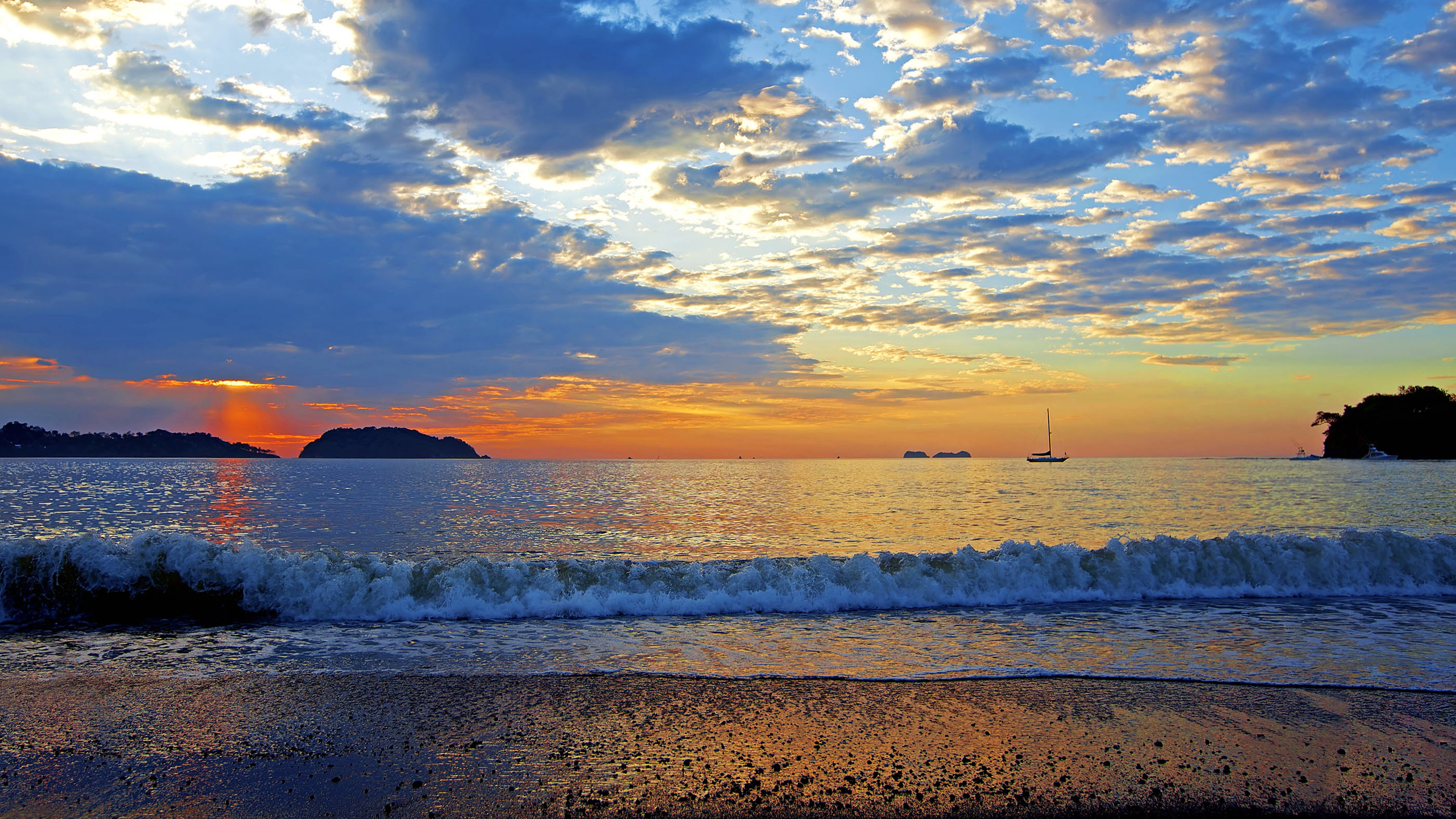 wallpaper of colorful sunset in the guancaste  costa rica