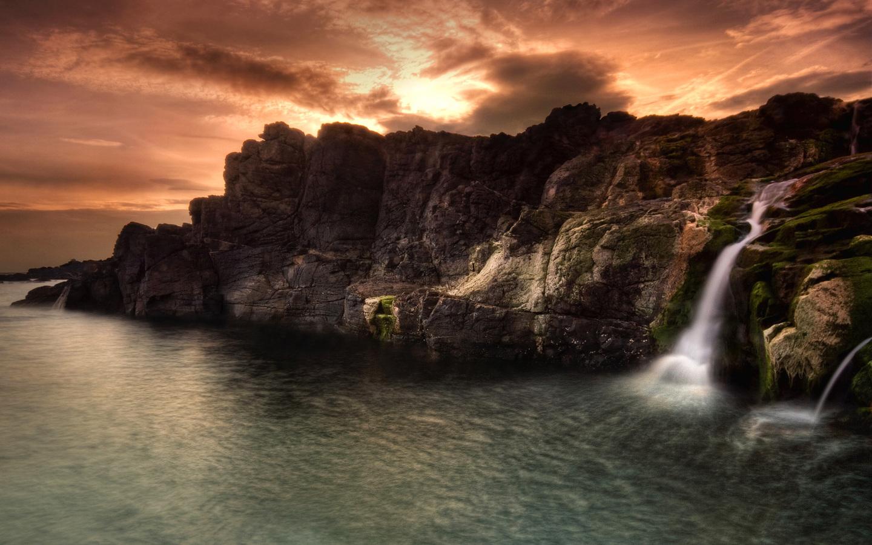 Waterfall Mountains Wallpaper Beach Wallpapers