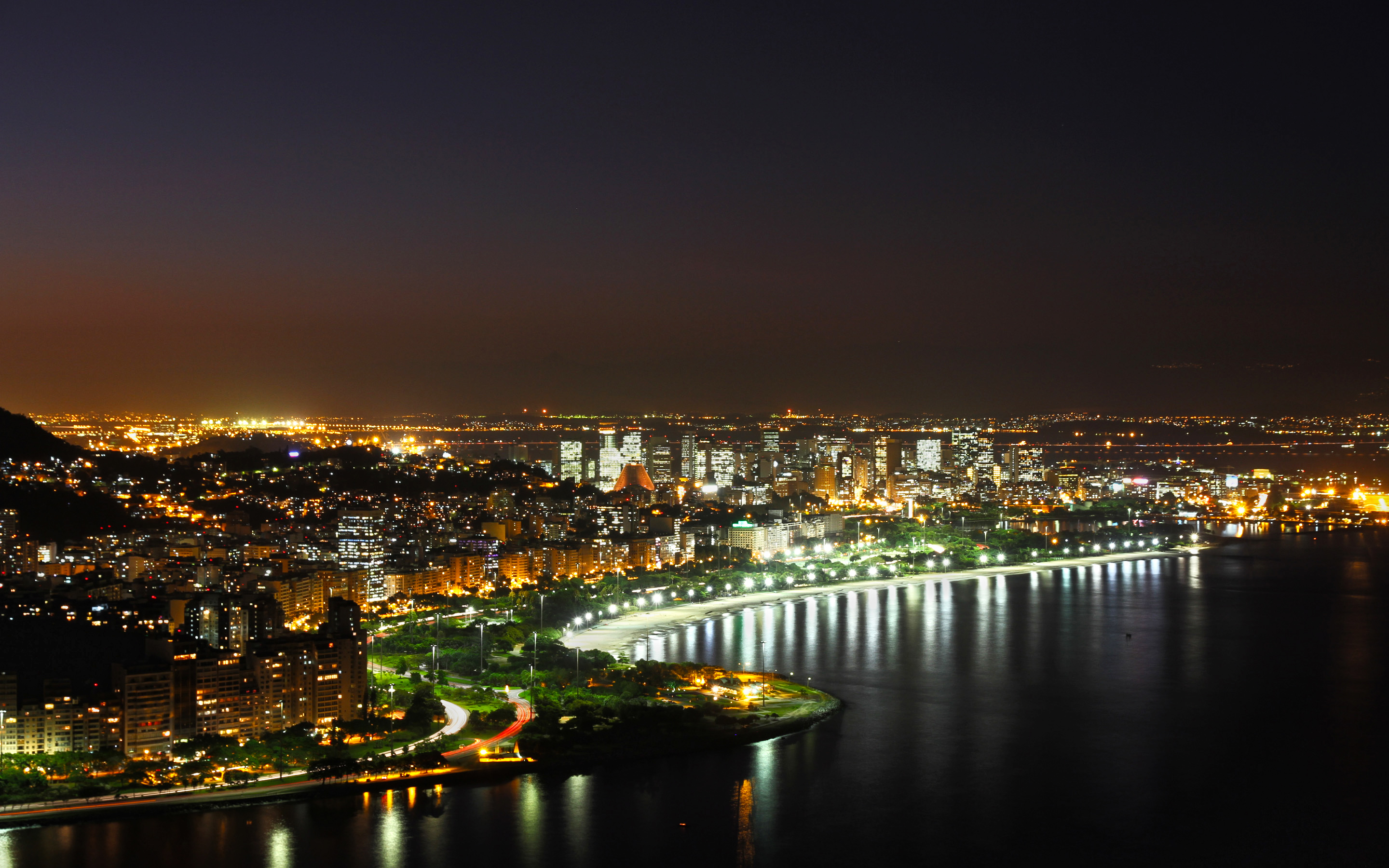 Exciting view of Rio de Janeiro at night wallpaper - Beach ...