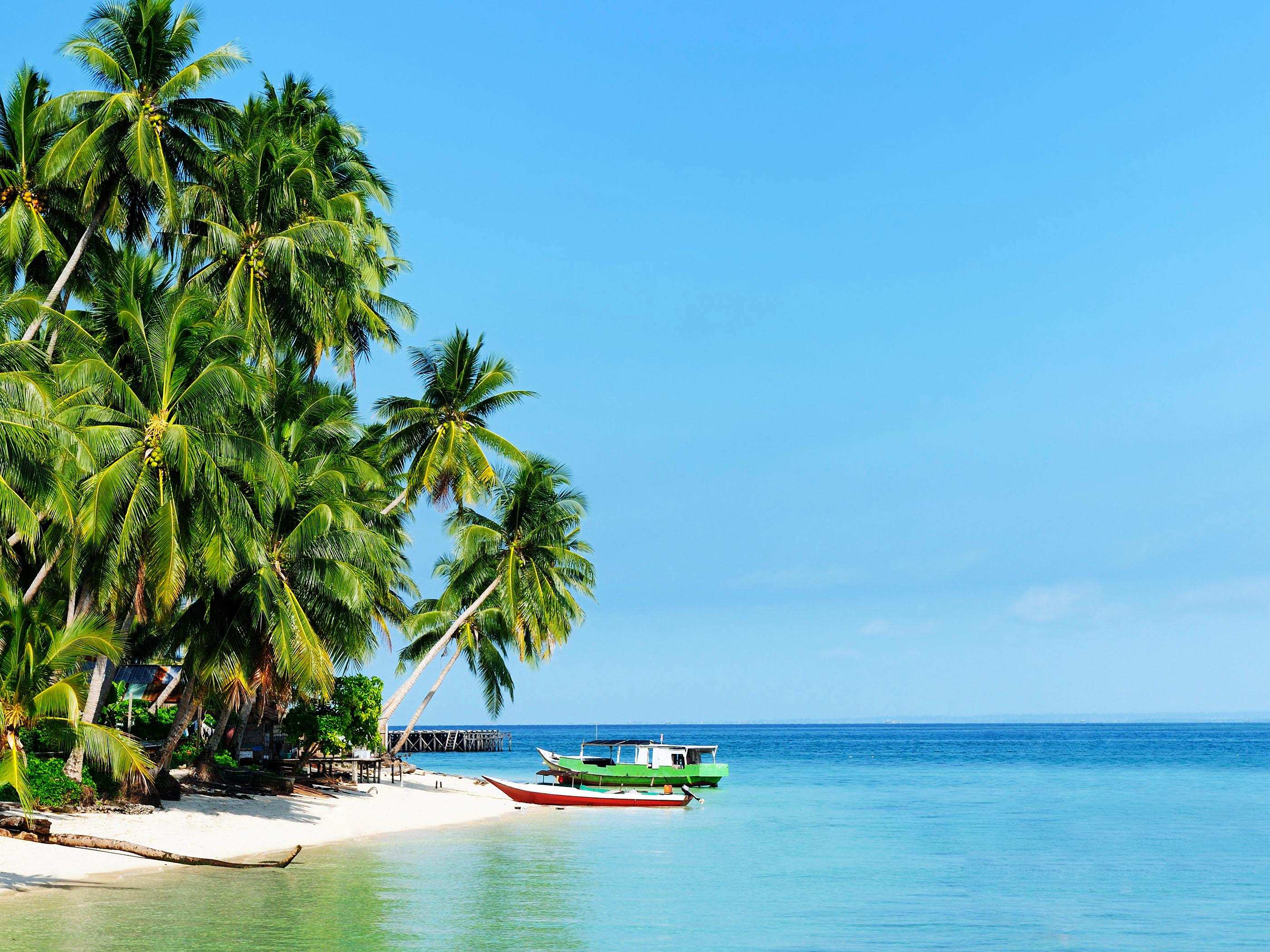 Sandy Beach Wallpaper: White Sandy Beach Of The Derawan Islands Wallpaper